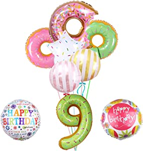 Donut Balloons- Pack of 9, Donut Mylar Balloon for 9th Birthday Balloon Bouquet Decorations, Donut Theme Party Supplies, Baby Shower, Home Office Decor, Birthday Backdrop