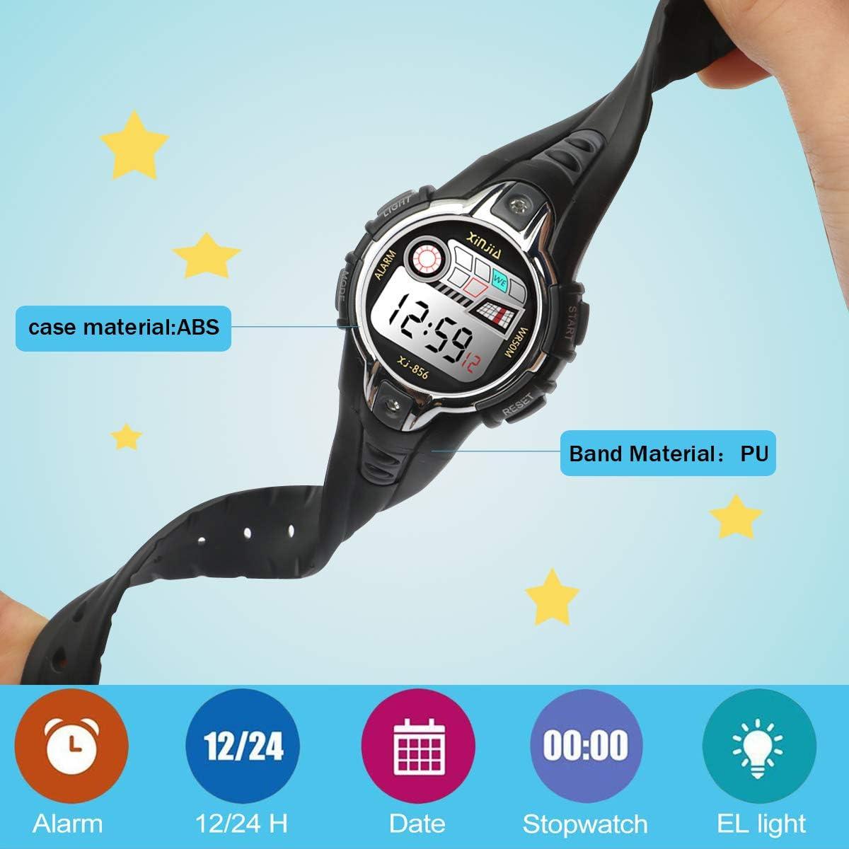 Montres Enfants Garçons Montre de Sport Electroniques Montres Bracelets garçons Montre numérique Digitale 50M étanche 12/24H/chronomètre/rétro-éclairage LED Noir-1