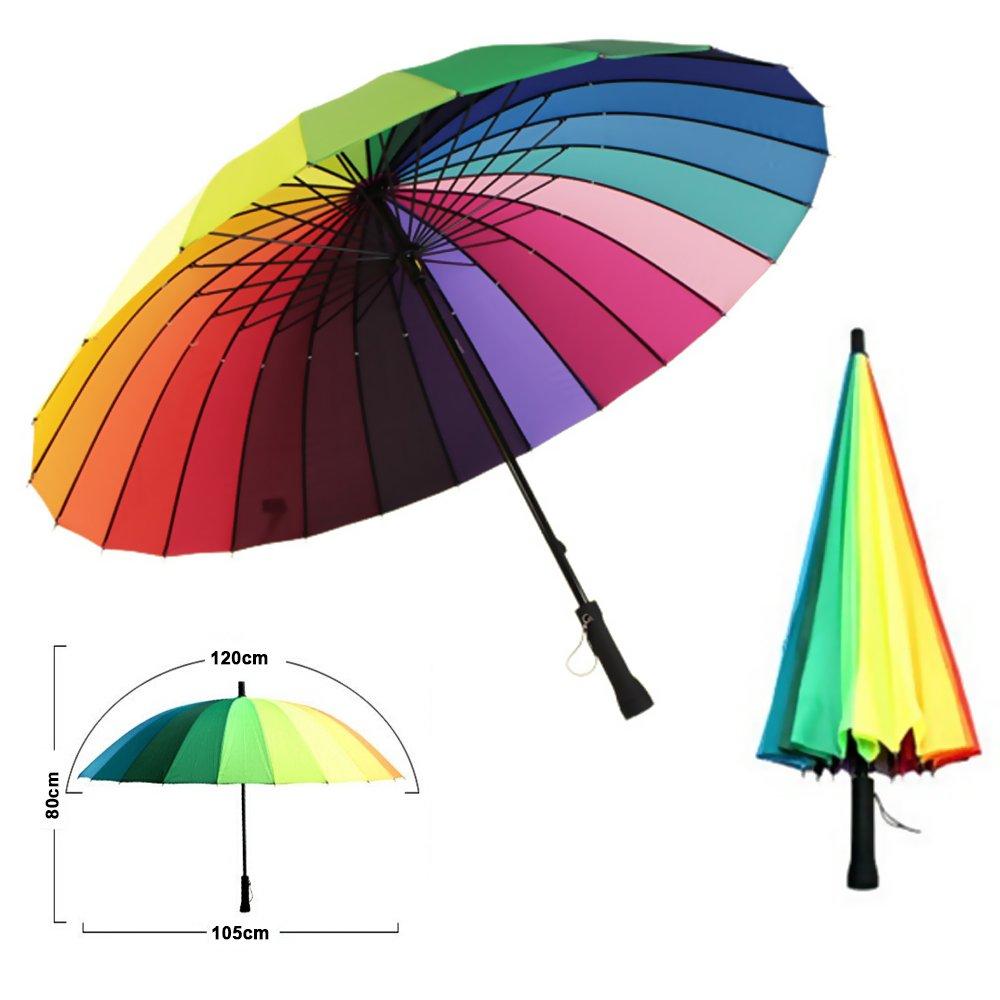 MENGCORE 24k Rib Large Color Rainbow Umbrella Fashion Long Handle Straight Anti-UV Sun/Rain Stick Umbrella Manual Big Parasol