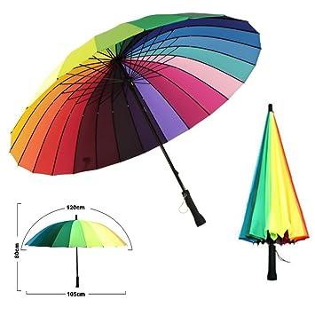 6054832f2b3ef MENGCORE 24k Rib Large Color Rainbow Umbrella Fashion Long Handle Straight  Anti-UV Sun/