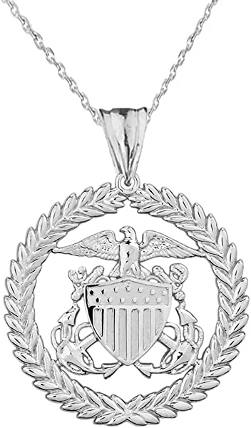 Coast Guard Charm Pendant Necklace in Sterling Silver Women Elegant U.S Pendants