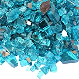 Onlyfire Fire Glass for Natural or Propane Fire Pit, Fireplace, or Gas Log Sets, 10-Pound, 1/2-Inch, Caribbean Blue Reflective