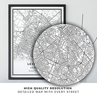 Lexington map poster print | Modern black and white wall art | Scandinavian home decor | Kentucky City prints artwork | Fine art posters