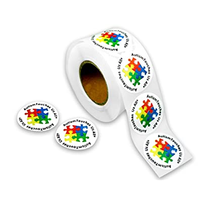 Fundraising For A Cause | Autism Touches Us All Stickers with Puzzle Pattern - Roll of Asperger's Autism Awareness Stickers (1 Roll - 500 Stickers): Toys & Games