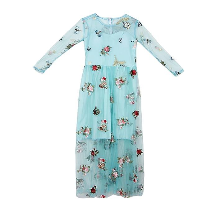 non-brand Sharplace Vestido Suave Largo Embarazo Mujer Bordado Organza Ropa de Foto Floral Diseño