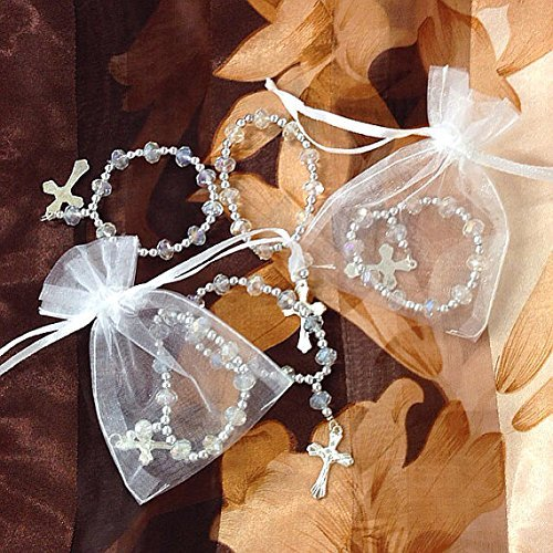 (12 Pc High Quality Clear Crystal Stretch Rosary Bracelet /Baptism Favor /First Communions , Baptism , Wedding Shower, Religous Favor ,)