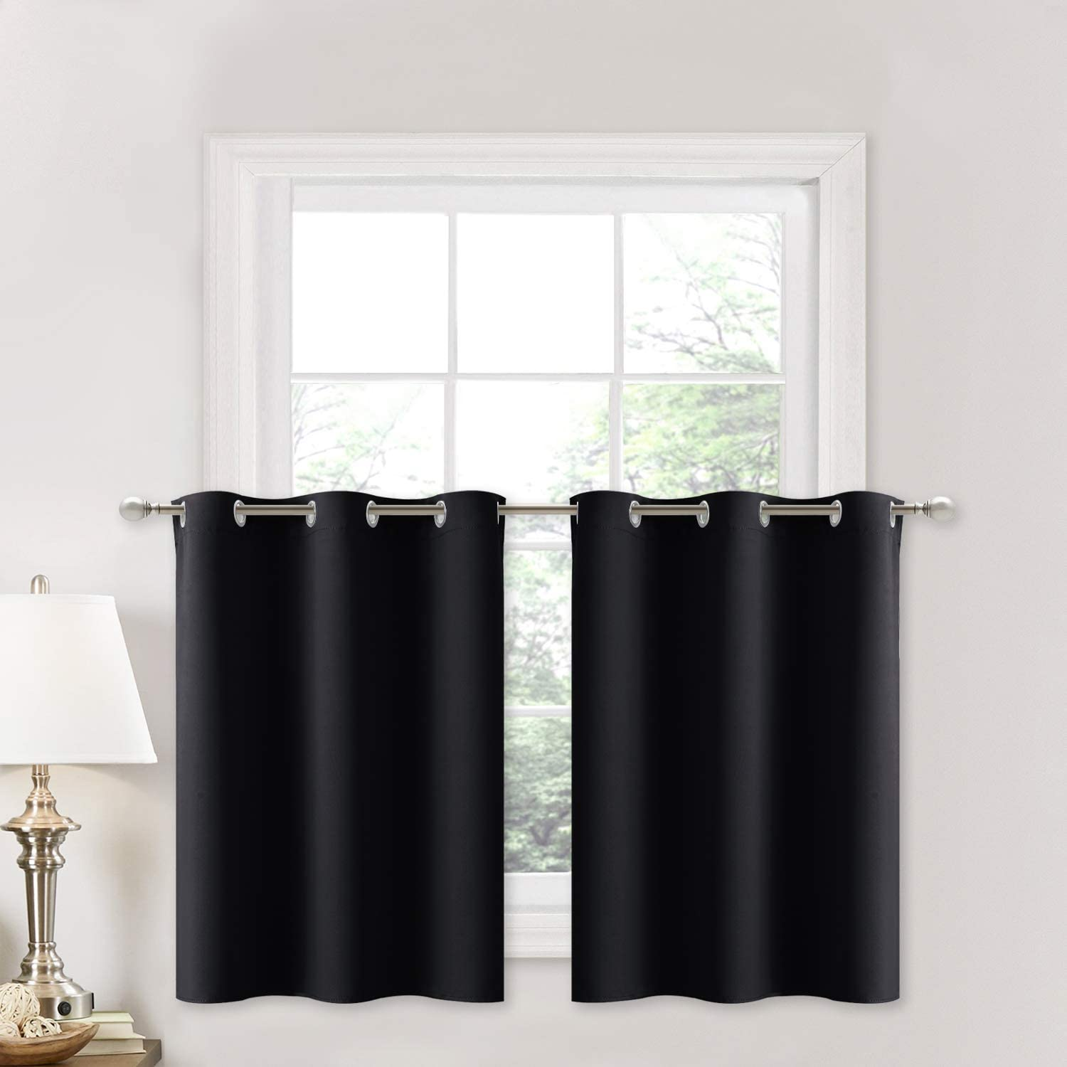 NICETOWN Black Small Window Valances Curtains - Thermal Insulated Home Decor Blackout Grommet Tier Curtains Drapes (42W by 24L + 1.2 inches Header, Black, 2 Pieces)