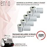 """enKo [10 Rolls, 2200 Labels] Direct Thermal Address & Shipping Labels Compatible with Zebra and Dymo 1744907 (4 x 6"""") for UPS, USPS, FedEx"""