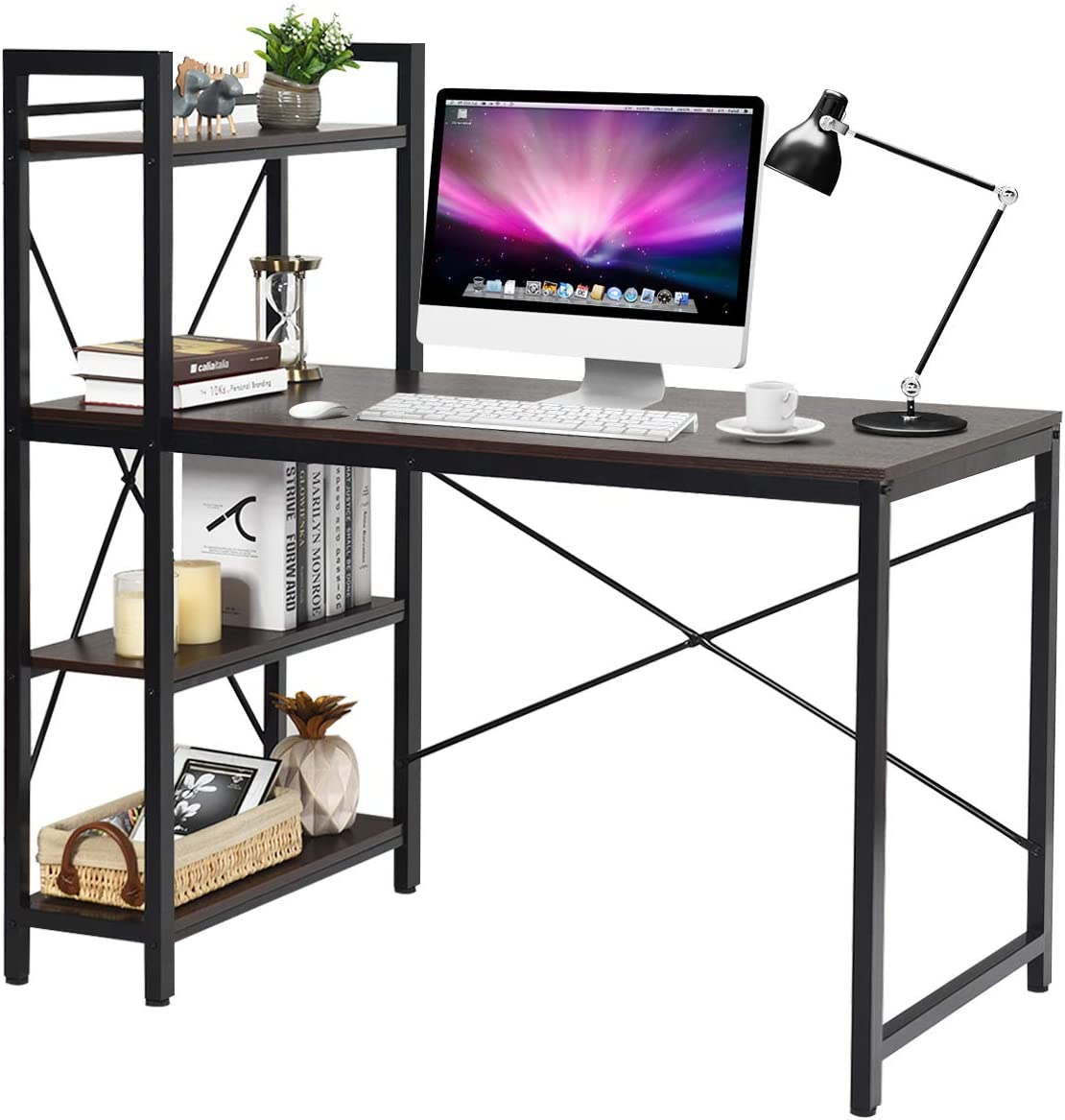 Tangkula 47.5 Computer Desk, Modern Style Writing Study Table with 4 Tier Bookshelves, Home Office Desk, Compact Gaming Desk, Multipurpose PC Workstation Brown