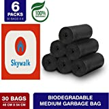 SkyWalker Bio-degradable Medium Garbage Bags (30 x 6 = 180 Pieces, 19 X 21 Inches) - Pack of 6