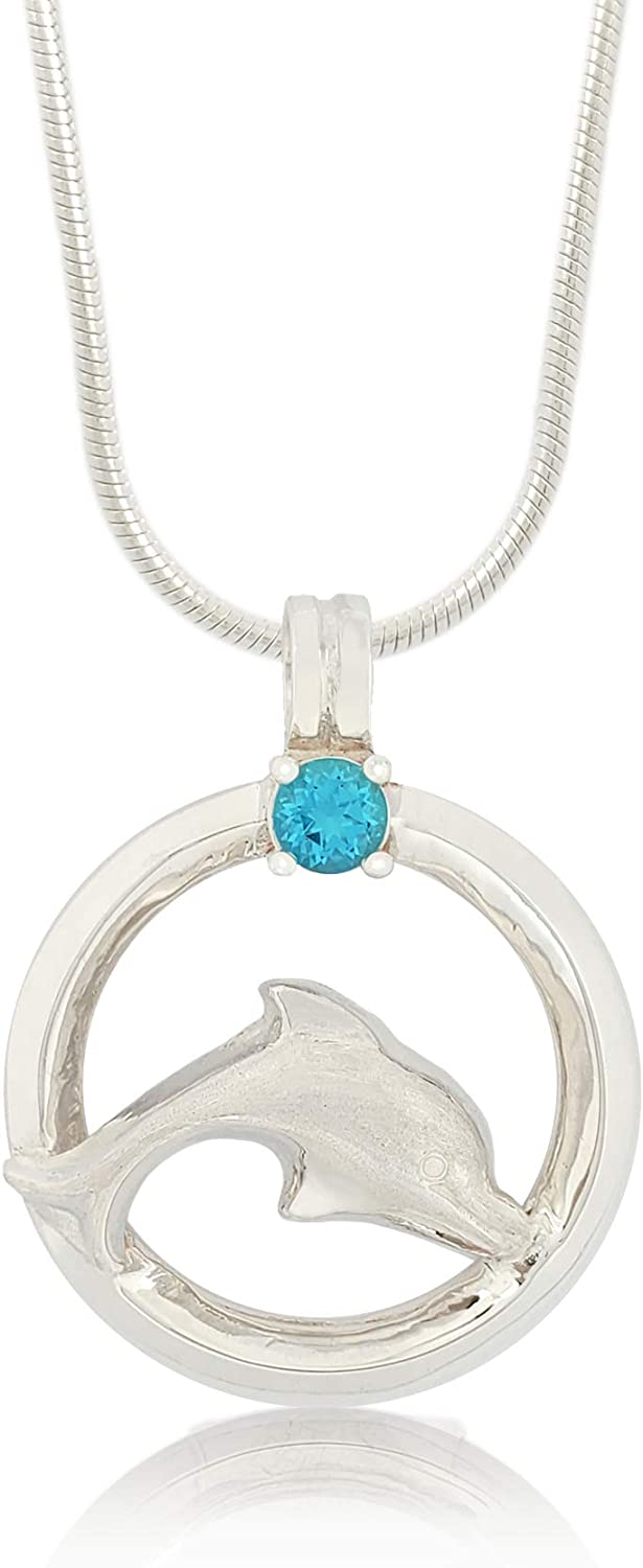 """Bahama Jewels - Sterling Silver Dolphin Circle of Life Blue Topaz Necklace with Pendant and 18"""" Snake Chain with Lobster Clasp"""