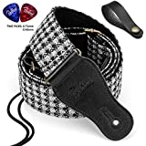 BestSounds Guitar Strap Soft Cotton Genuine Leather Ends Strap for Acoustic Bass and Electric Guitar – Include Guitar Picks & Button Headstock Adaptor (VC-181)