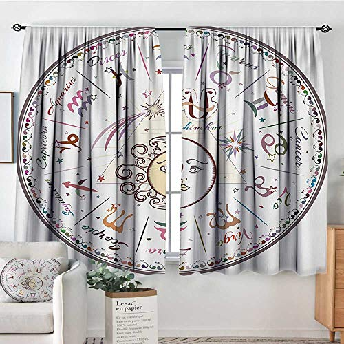 (Mozenou Zodiac Patterned Drape for Glass Door Western Chart with All Signs Aries Virgo Leo Taurus Libra Mystique Fate Calendar Customized Curtains 72
