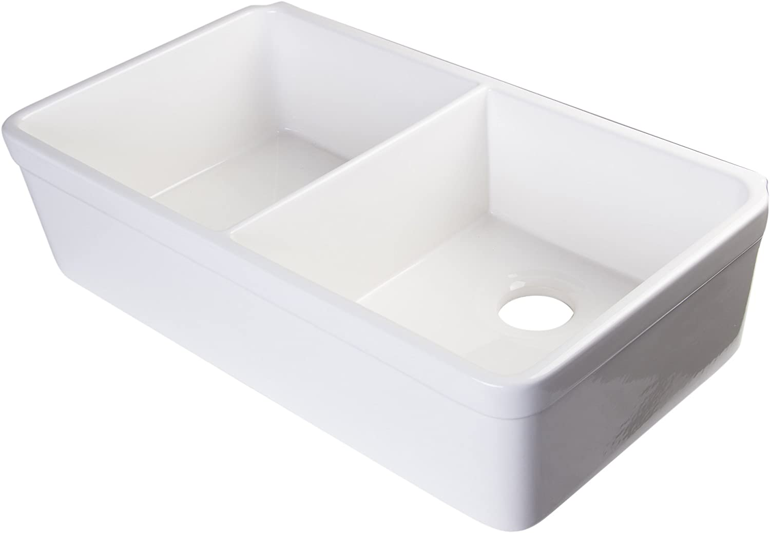 ALFI brand AB512 32-Inch Double Bowl Fireclay Farmhouse Kitchen Sink with 1 3 4-Inch Lip, White