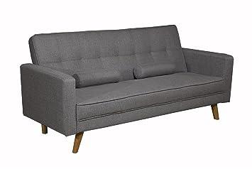Dream Warehouse Boston Fabric Sofa Bed Charcoal Grey Amazon Co Uk
