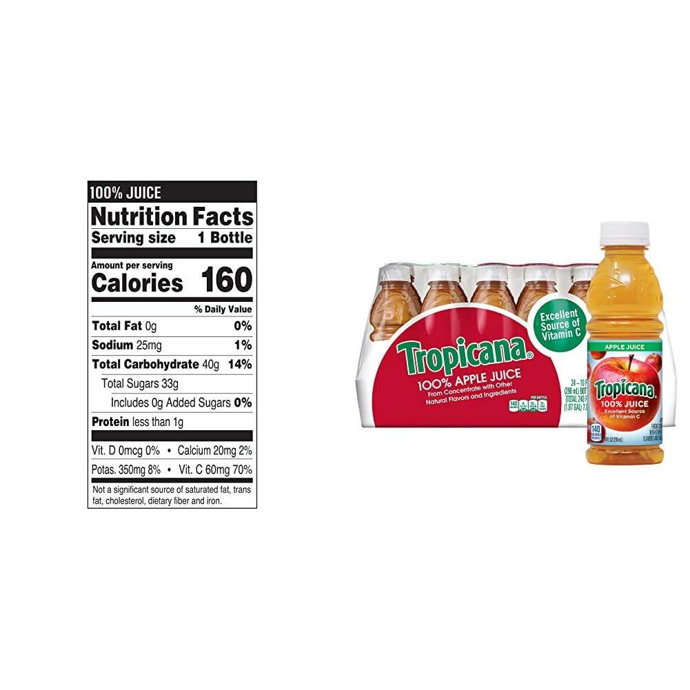 Tropicana Juice, Strawberry Orange, 10 Ounce (Pack of 15) & Apple Juice, 10 oz., 24 Count