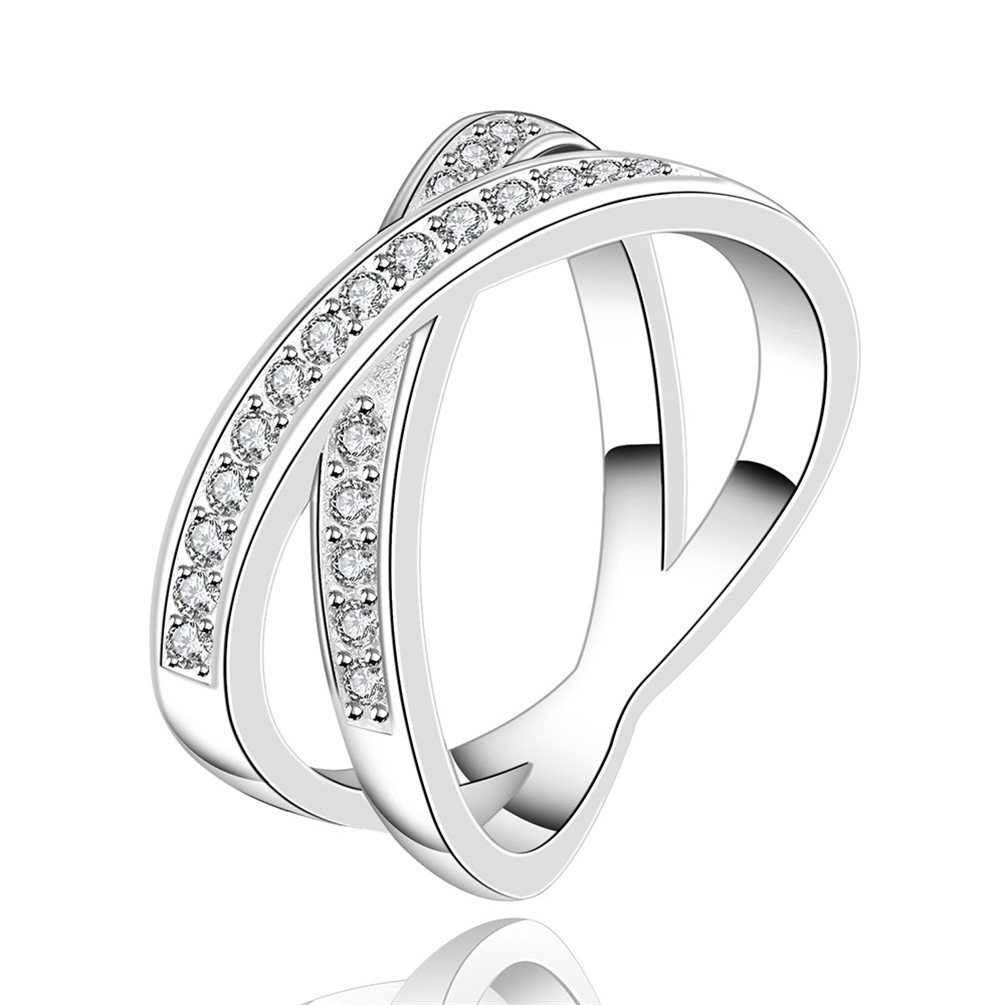 HMILYDYK Womens Jewelry 925 Sterling Silver plated Cubic Zirconia CZ X Criss Cross Wedding Ring GUSPCR487