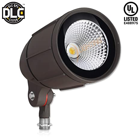 promo code dacfe 7a414 30-Watt LED Bullet Flood Light for 120 Volt Outdoor Landscape Lighting,  3200 lm, Bronze, 150W MH Equal, Flag Pole Light, 60° Flood Beam, Warm White  ...