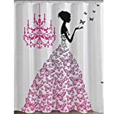 Shower Curtain, Jaragar Waterproof Mildewproof Polyester Fabric Shower Curtain Butterfly Girl Printed Bath Accessories 71 x 71 inch with Plastic Hooks