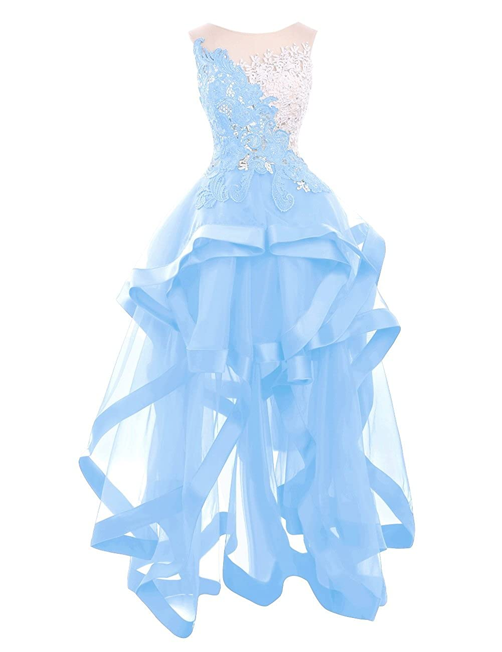 Sky bluee Riveroy Women Formal Lace High Low Evening Dress See Through Ruffles Ball Gown Prom Party Dress(17 colors)