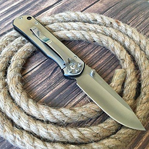 Enlan Klappmesser Silber Taschenmesser Einhandmesser Outdoor Gürtelmesser Kompaktes Messer Pocket Folder Knife mit Gürtelclip
