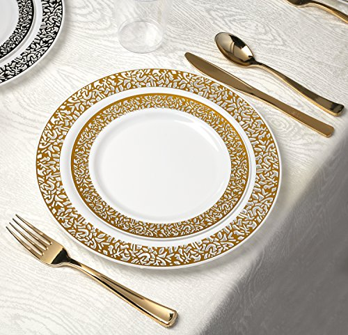 Dessert Table Setting (Kaya Collection - Lace Gold Disposable Plastic Dinnerware Party Package - 60 Person Package - Includes Dinner Plates, Salad/Dessert Plates, Gold Cutlery and Tumblers)