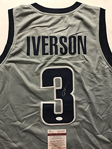 Autographed/Signed Allen Iverson Georgetown Hoyas Grey College Basketball Jersey JSA COA