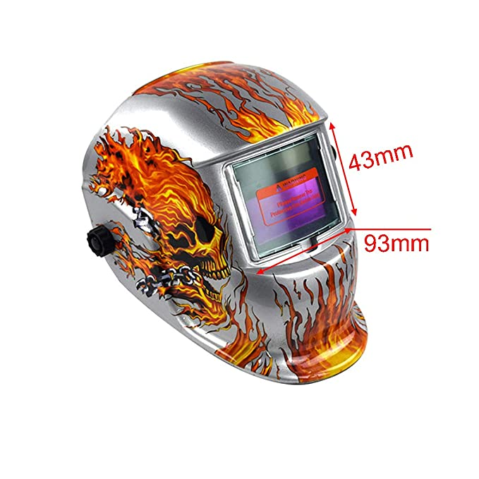 Casco de soldadura, Solar Power Auto Darkening Hood Soldador máscara de molienda cascos con rango de pantalla ajustable para máquina de soldadura, ...