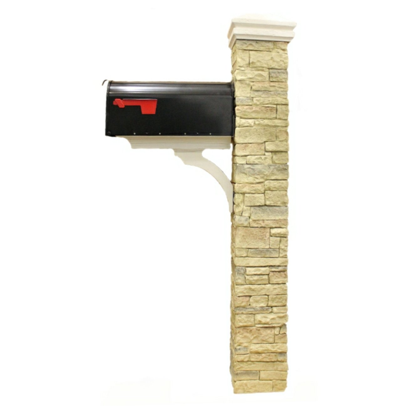 Eye Level Beige Cast Stone Mailbox Post With Curved Cap Amazoncom