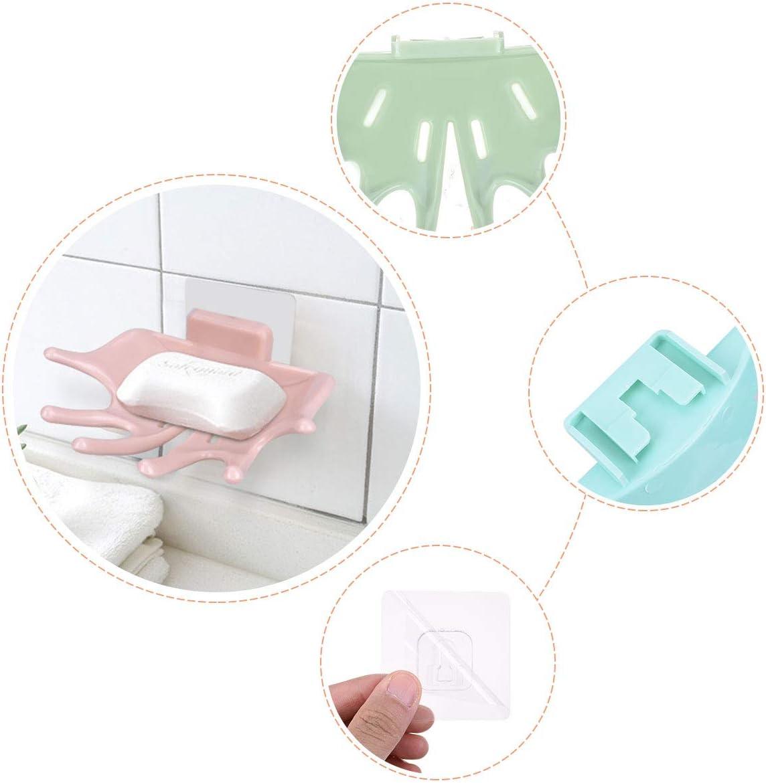 LegendTech 3 Pi/èces Porte-savon autocollant Porte-savon avec Ventouse Puissante en Plastique Montage Mural avec Effacement des Trous Porte-savon au Cuisine Salle de Bain Bleu Rose Vert