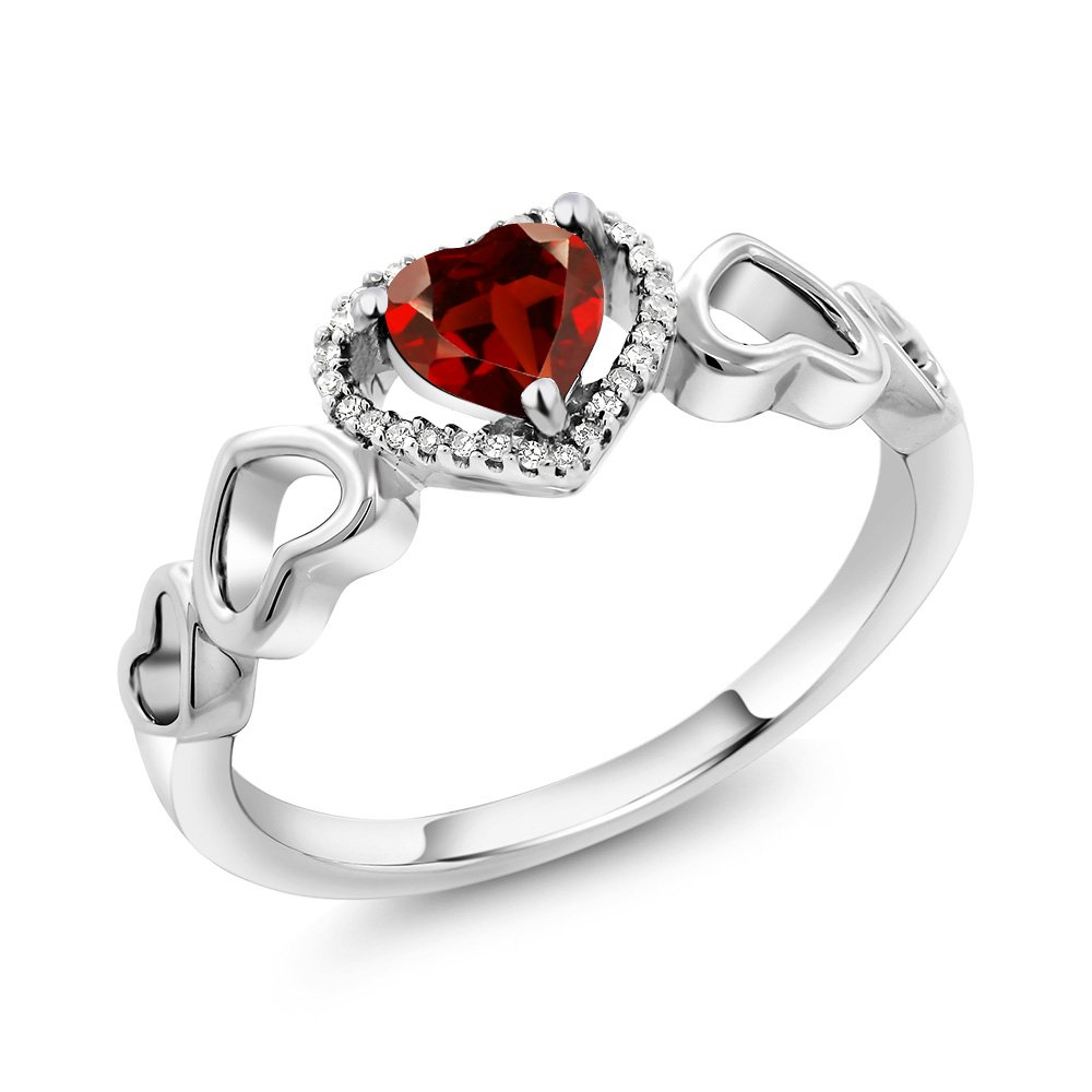 10K White Gold 0.75 Ct Heart Shape Red Garnet with Diamond Accent Engagement Ring (Available in size 5, 6, 7, 8, 9)