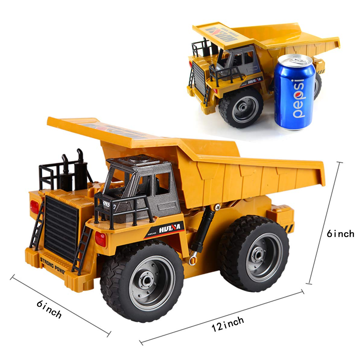 fisca RC Truck 6 Ch 2.4G Alloy Remote Control Dump Truck 4 Wheel Driver Mine Construction Vehicle Toy Machine Model with LED Light by fisca (Image #3)