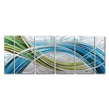fbbf836ac7 Yihui Arts Abstract Color Warp Metal Wall Art, Large Scale Decor Abstract  Blue-Green