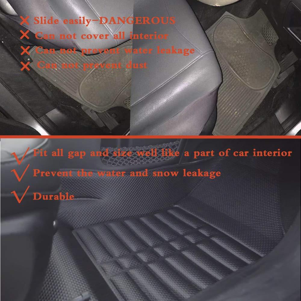 Waterproof-All Weather Protection-Black AWEMAT Custom Fit Car Floor Mats for Hyundai Kona 2017-present Model Digital Measured Exquisite Pattern-Large Coverage