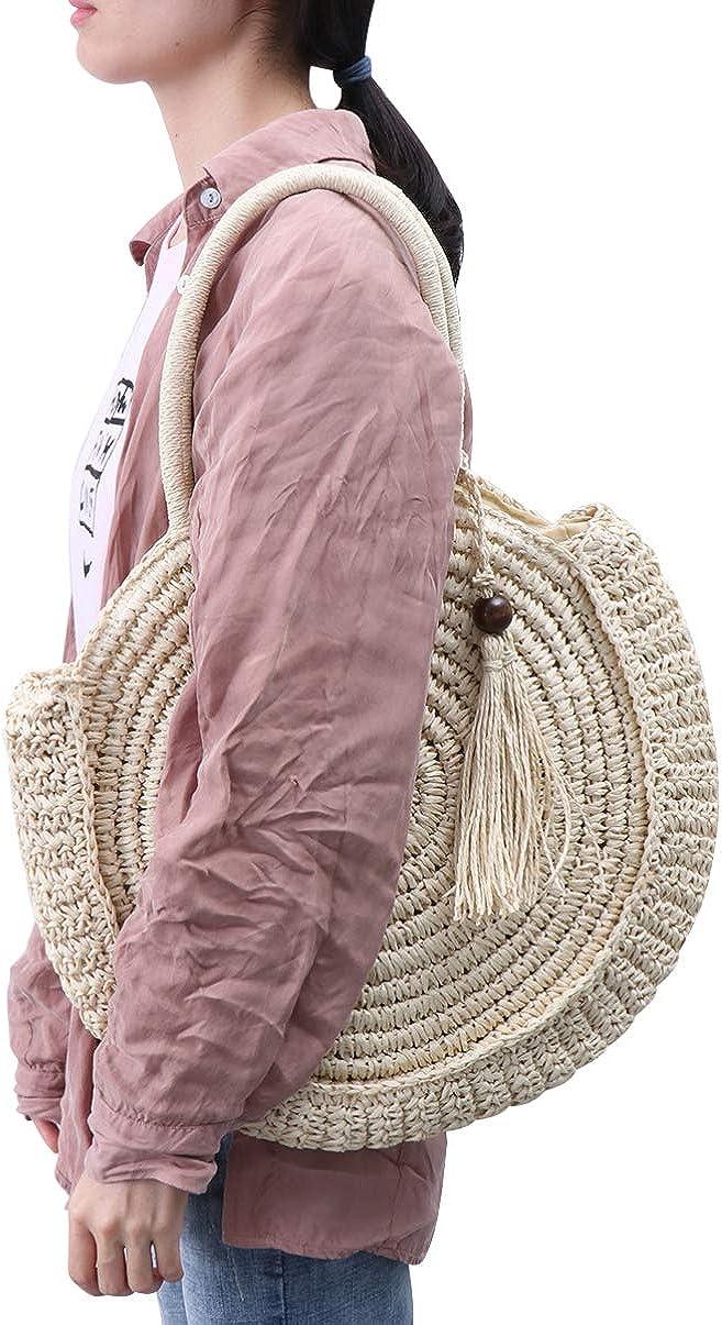 beige borsa a tracolla rotonda bohemien borsa nappa di paglia moda grande capacit/à donna intrecciata borsa tote estate cerchio boho borsa chic naturale