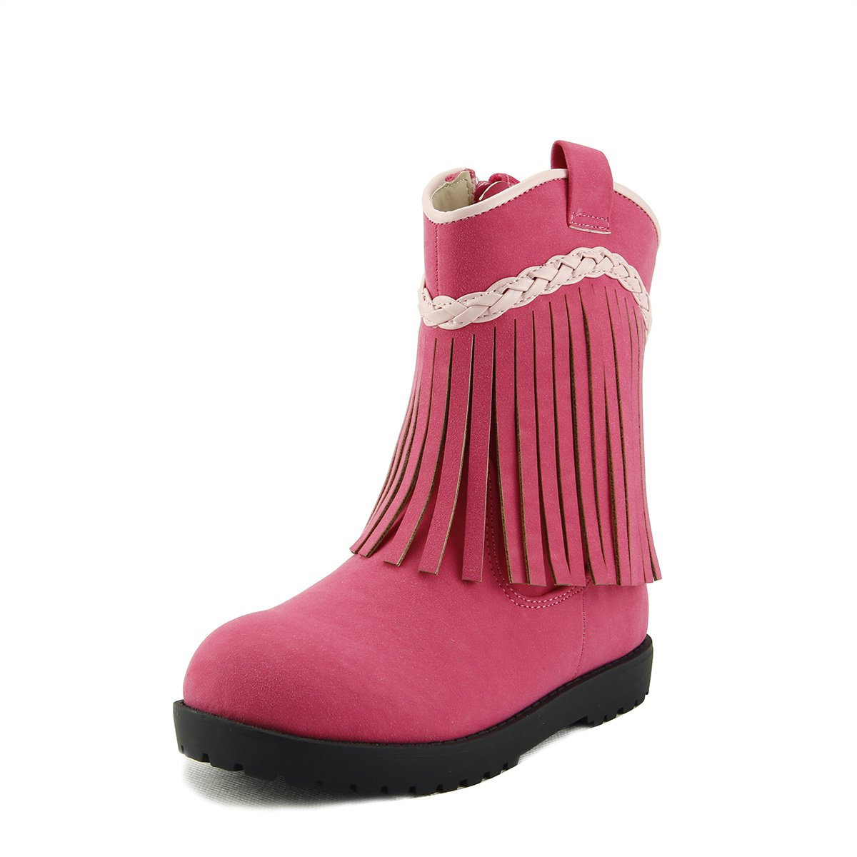 Western CowGirls Style Moccas Girl's Fringe Short Boots Toddler Little Kids 3 colors (07, Rose Pink) by SKY HIGH (Image #1)