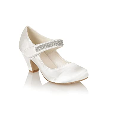 5bd5fe905be2 Girls Kids Mary Jane Prom Party Wedding Velcro Low Wedge Heel Sandals Shoe  Size 10 -
