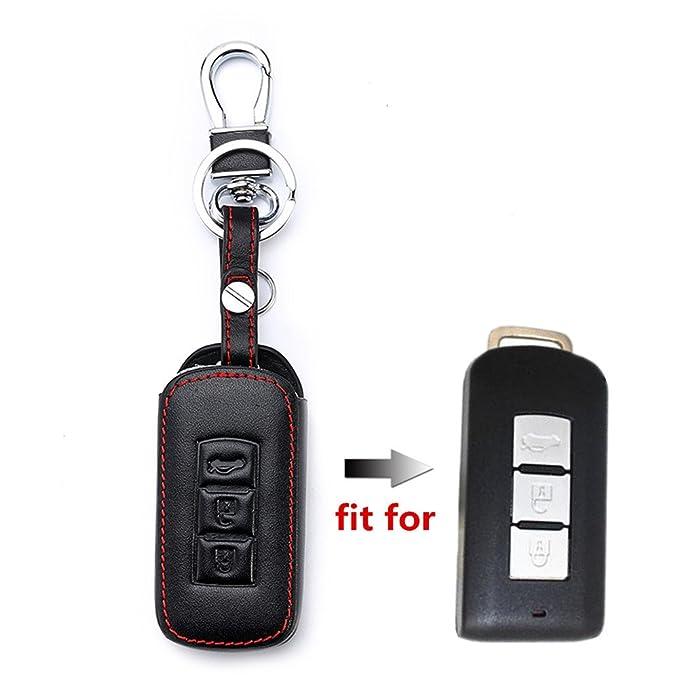 Happyit Leder Autoschl/üssel Abdeckung F/ällen Auto Keychain f/ür Mitsubishi Outlander Lancer 10 Ex Pajero Sport ASX RVR L200 3 Tasten Smart Key