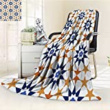 Luxury Collection Ultra Soft Plush Fleece Lightweight seamless tile pattern of islamic style All-Season Throw/Bed Blanket(90''x 70'')