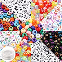 Quefe Beads Kit, Letter Beads, Large-Hole Beads with Elastic String Cord for Jewelry Making