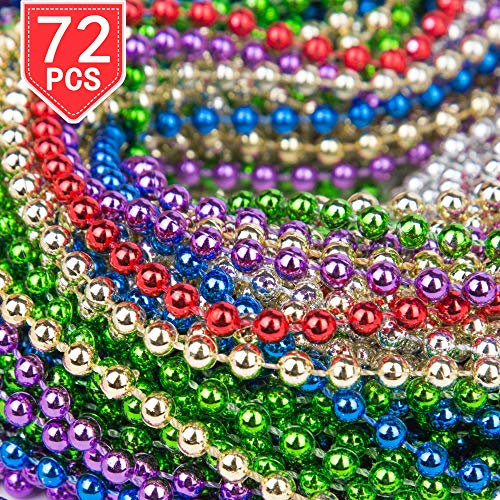 PROLOSO 72 Necklaces 33 inch Mardi Gras Beads Beaded Metallic]()