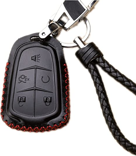 Genuine Leather Car Remote Key Chain Holder Case Bag Fit For Cadillac Auto