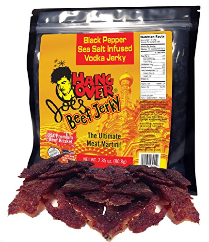 Black Pepper, Sea Salt Beef Jerky that's Infused with Vodka - Made with Premium USA Beef Brisket, 2.85oz (Premium Vodka)