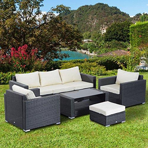 Outsunny garden rattan furniture 7 pcs sofa set patio for Outsunny garden furniture covers