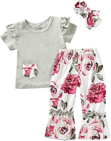 Toddler Kids Baby Girls T-shirt Tops+Pants+Floral Pants Outfits Clothes Set