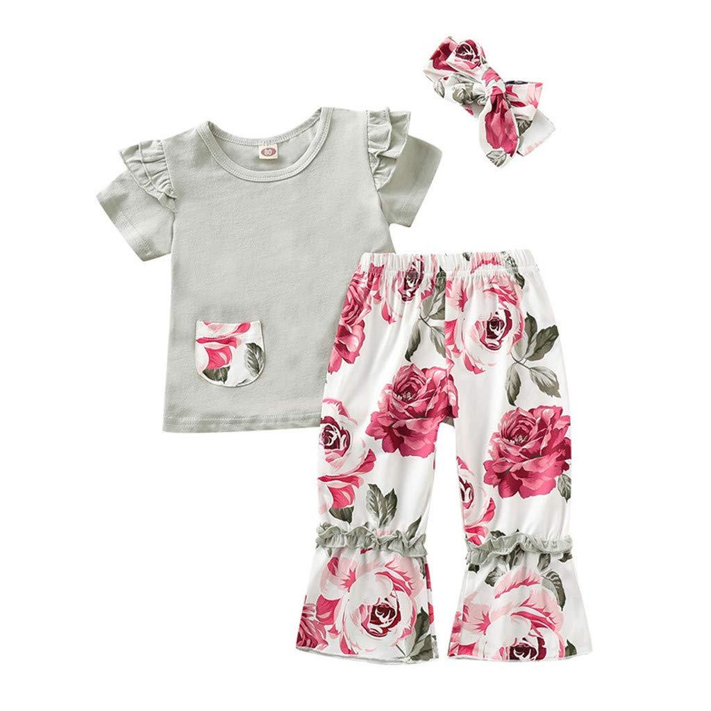 Newborn Baby Girls Kid Toddler Sleeveless Floral Cotton Blend Top T-Shirts New.