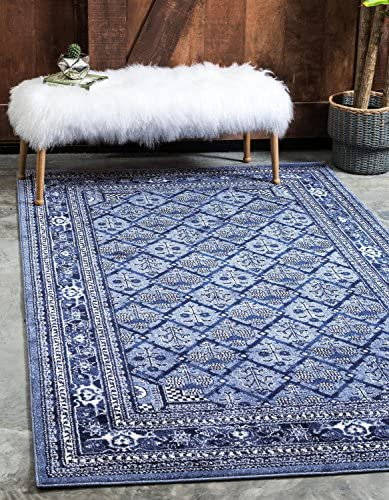 Unique Loom La Jolla Collection Tone-on-Tone Traditional Blue Area Rug 10 0 x 14 0
