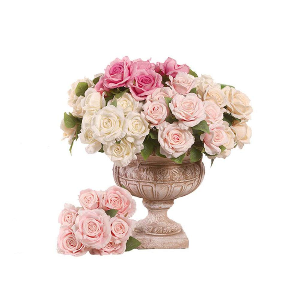 706e2a5993e Amazon.com: ANGLE Artificial Flowers 7 Heads Bunches Curled Roses ...