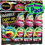 illooms Marble Light Up LED Balloons 5 Pack Party Pack Bundle - 3 Pack (15 Balloons Total)
