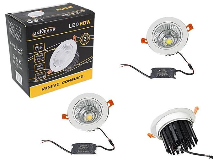 Foco empotrable LED COB 20 W orientable luz blanca 6500 K completo de Driver y solapas